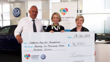 Peter Munday presenting a cheque to the Canberra Hospital Foundation.