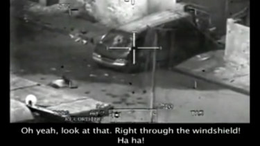 "A frame from the ""Collateral Murder"" video published by WikiLeaks."