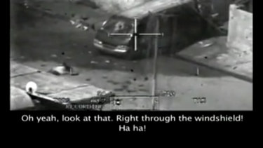 """A frame from the """"Collateral Murder"""" video published by WikiLeaks."""