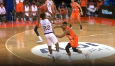 The on-court decision ruled the foul occurred before the shot was taken.