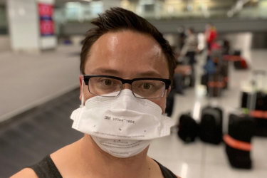 Dr Glen Lo at Sydney International Airport in the early hours of Saturday morning.