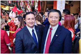 Labor MLC Shaoquett Moselmane with former staffer John Zhang, right.