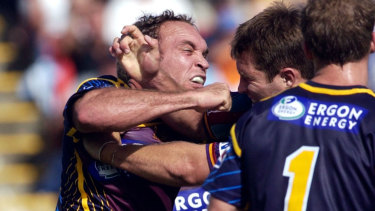 Raging Bull: Tallis in action for Brisbane during his playing days.