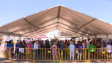 People faced long waits at COVID-19 testing sites in Shepparton on Wednesday.