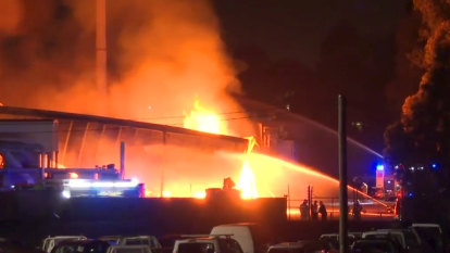 Factory evacuated as more than 100 firefighters battle large fire in south-west Sydney