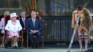 Queen Elizabeth ll and WA Premier Colin Barnett watch a Welcome to Country performance in Perth in 2011.
