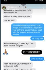 Text messages between Nick Kyrgios and Chiara Passari.