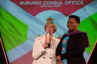 Margaret Court with first lady of Burundi, Denise Bucumi Nkurunziza.