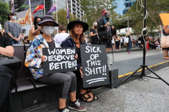 Joceline Godfrey and her mother Tomiko Godfrey at the March 4 Justice rally in Brisbane.