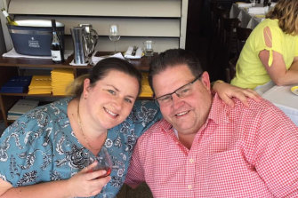 Brendan Gaffney, who spent five years in jail for fraud, with his wife Katie.