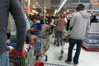 Shopping chaos in Coles Showgrounds, Melbourne on Saturday.