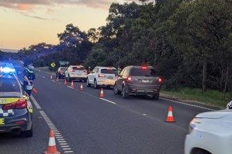 Police from Frankston and Mornington Peninsula doing random vehicle checks on Wednesday.