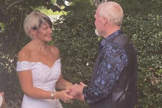 Lauren Kopua and Darran Dowling during their Zoom wedding ceremony.
