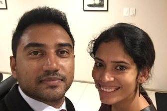 """Kiruthika Prasanna and her husbandMathew have become stuck in India after visiting a critically ill parent in April, """"Our whole life is waiting for us in Brisbane, our dog, house and jobs,"""" she said."""