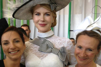 A day at the races. Halfpenny (right) with Marie Claire editor Nicky Briger (left) and Nicole Kidman.
