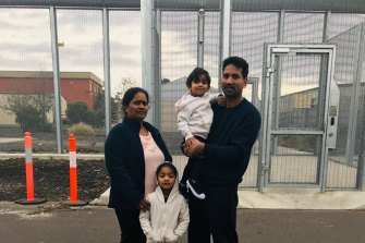 The Tamil family is pictured in detention in Melbourne.