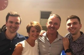 Joshua Prestney (right) with his Dad Andrew, Mum Belinda and brother Alex