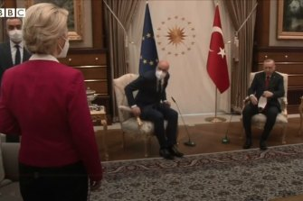European Commission president Ursula von der Leyen is left without a chair as European Council chief Charles Michel and Turkish leader Recep Tayyip Erdogan take a seat.