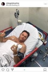 Mike Goldman in hospital.