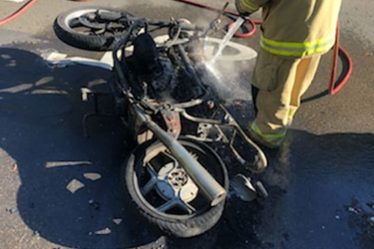 Fire crews were called to put out the blaze, which destroyed both vehicles.