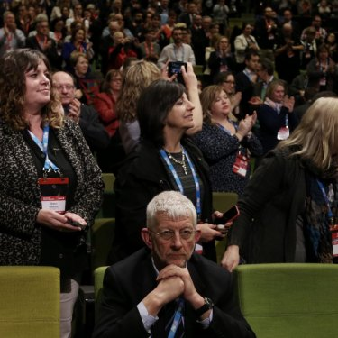 SDA national president Joe de Bruyn stayed seated as ALP National Conference gave Senator Penny Wong a standing ovation after her speech on same-sex marriage in Melbourne in 2015.