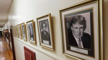 A portrait of President Trump hangs on the wall at the New York Military Academy.