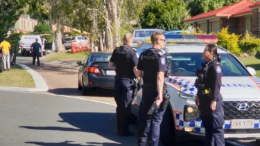 The scene at Cassowary Street in Doolandella, in Brisbane's south, where a man was shot dead by police.