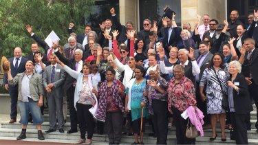 Noongar people and elders celebrating their recognition in state parliament as the traditional owners of South West WA in 2016.