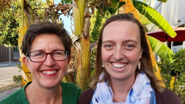 Greens candidates Sally Dillon (left) and Kath Angus are contesting the March 2020 council elections, Ms Dillon for Coorparoo Ward and Ms Angus for lord mayor.