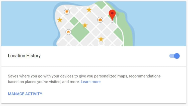The location history setting, as seen in a desktop web browser.