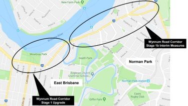This map shows stages 1 and 1b of the Wynnum Road upgrade.