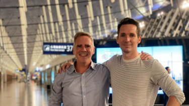 Financial Review journalist Michael Smith with ABC journalist Bill Birtles as they prepared to leave China on Monday night.
