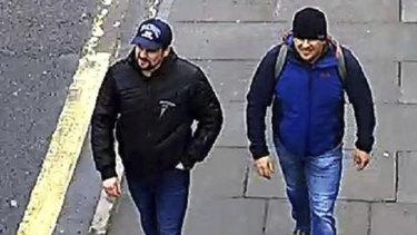 CCTV footage showing Ruslan Boshirov and Alexander Petrov on Fisherton Road, Salisbury, on March 4.