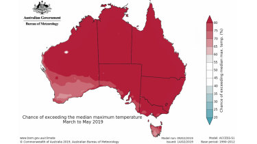 The Bureau of Meteorology says there is high chance it will be warmer than average in autumn.