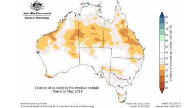 A drier than average season is likely for large parts of northern Australia, while the rest of the country shows no strong tendency towards a wetter or drier than average autumn.