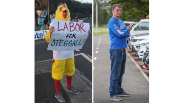 Chicken man has been campaigning against Zali Steggall. Could this be the man behind the costume?