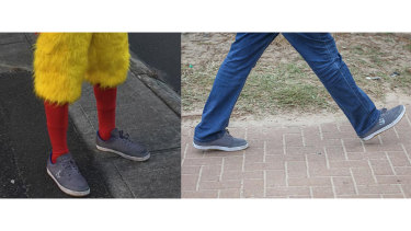 The shoes appear the same, but the Tony Abbott volunteer denies he is Chicken Man.