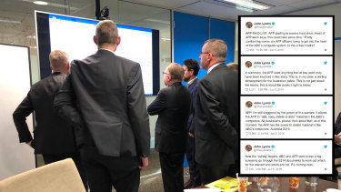 The ABC's John Lyons live tweeted as the AFP and the broadcaster's lawyers combed through documents to determine which documents were eligible to be handed over under the search warrant.