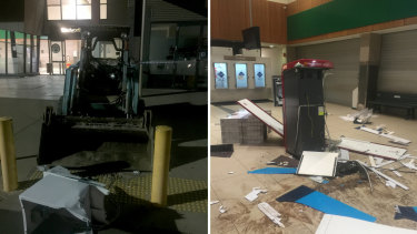 A bobcat was used to steal an ATM from a shopping centre in southern NSW on Monday morning.