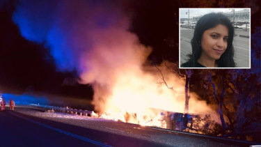 The ex-boyfriend of Sydney dentist Preethi Reddy (inset) died in a fiery crash near Tamworth on Monday, before her body was found in a suitcase.
