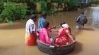 Akash Kunjumon and A. Aishwarya sail to their wedding in a giant cooking pot in Kerala, India.