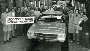 The two and a half millionth Holden rolls of the line at GMH's Dandenong plant.