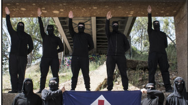 Neo-Nazis from the National Socialist Network, one of Australia's extreme right-wing groups.