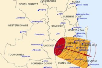 A thunderstorm swept through the Lockyer Valley, west of Brisbane, overnight bringing damaging wind gusts as it moved rapidly east towards the city.