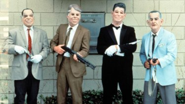 The film's bank-robbing, rubber mask-wearing gang, the Ex-Presidents.
