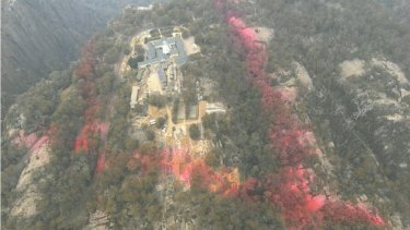 Fire retardant dropped around the Mount Buffalo chalet last week to protect it from a fire front approaching from the south east.