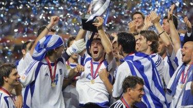 Greece celebrates winning Euro 2004.