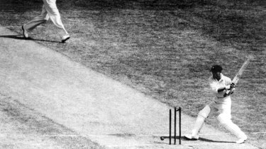 Don Bradman is out for a duck during the 2nd Test against England in the controversial Bodyline tour