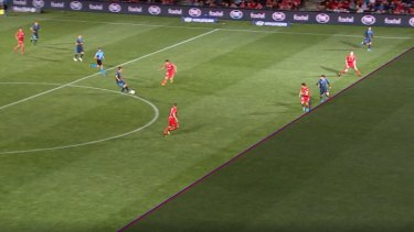 Small margins: Kosta Barbarouses' finish was ruled out after the VAR's HawkEye technology found him to be slightly offside.