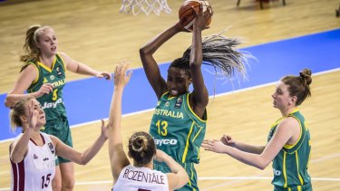 Ezi Magbegor pulls down a rebound for the Australian under-19 side at last year's World Cup.